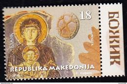 REPUBLIC OF MACEDONIA, 2018, STAMP, MICHEL 858 - CHRISTMAS, Religion, Christianity, Orthodox, Art, Frescoes +, - Cristianesimo