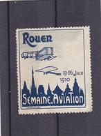 VIGNETTE ROUEN 19/26 Juin 1910 ,semaine De L'aviation , Gris Et Bleu - Aviation