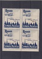 Bloc De 4 ,VIGNETTE ROUEN 19/26 Juin 1910 ,semaine De L'aviation , Gris Et Bleu - Aviation