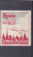 VIGNETTE ROUEN 19/26 Juin 1910 ,semaine De L'aviation , Rouge ,  Bleu - Aviation
