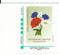 Timbre Personnalisé - Centenaire De L'Armistice - Fleurs Symboliques - Oeillet Coquelicot Marguerite Myosotis - Altri