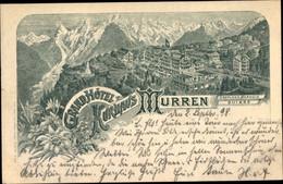 Lithographie Mürren Kanton Bern Schweiz, Grand Hotel Kurhaus Mürren - BE Berne