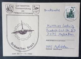 """Brief Drucksache Luftwaffen Transportübung Mit Feldpostversorgung, """"Schneller Start"""" 02.-11.10.1990 - Militaria"""