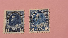 CANADA : 2 Timbres 1911 - Portrait Du Roi George V - Used Stamps