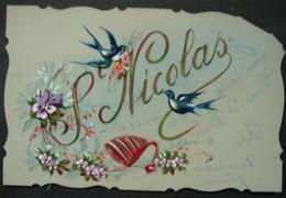 CP. 4094. Carte En Celluloïd Peinte à La Main, Fleurs, Hirondelles Saint Nicolas - San Nicolás