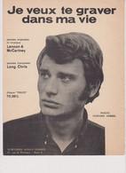 Johnny Hallyday Partition Je Veux Te Graver Dans Ma Vie 1966 Lennon Mc Cartney - Non Classificati