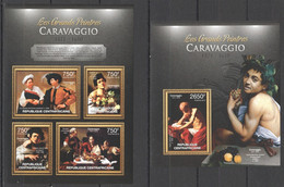 CA673 2013 CENTRAL AFRICA CENTRAFRICAINE ART THE GREAT PAINTERS CARAVAGGIO KB+BL MNH - Altri