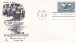 États-Unis FDC 1965 783 20e Anniversaire Nations Unies Année Coopération Internationale Mains Oblitération San Francisco - 1961-1970