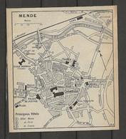CARTE PLAN 1914 - MENDE - HOTEL MANSE - HOTEL De PARIS - HOTEL De FRANCE - TÉLÉGRAPHE - Carte Topografiche