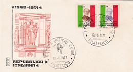 1971 ITALY FDC XXV ANNNIVERSARY DELLA REPUBLICA 1946-1971 - F.D.C.