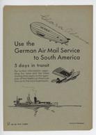 ° To South America By Zeppelin °1934 ° Hamburg - America Line ° Document Ayant Appartenu à Clara Adams ° - Zeitpläne