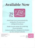 USA Etats Unis Entier Postal Postal Stationery Enveloppe 1991 Sample 29 Cent Love Avec Publicité - 1981-00