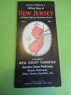 Carte Officielle Du NEW JERSEY / U S A / Hagstroms/With New Highway Numbering System/ 1953        DT 116 - Carte Stradali