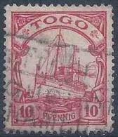 Kaiserjacht 9, 10 Pfg.rot  (Schiffstempel)        1900 - Kolonie: Togo