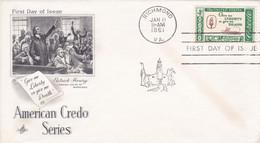 États-Unis FDC 1961 678E Credo Américain Citation De Patrick Henry Oblitération Richmond VA - 1961-1970