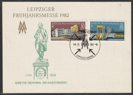 H 664) DDR 1982 Mi# 2683-2684 SSt Leipzig: Messe, Karte   Goethe-Denkmal Am Naschmarkt - Briefe U. Dokumente