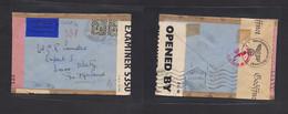Eire. 1943 (Dec 2) Mhor - Switzerland, Davos. Air Multifkd Env British + Nazi + Rish Censor Labels, With Air Label + Rev - Used Stamps
