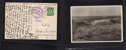 "Germany - Danzig. 1938 (11 July) GPO - Holstein, Heide, Germany. Single Fkd Ppc. 10 Pf Green. Air Cachet + ""Tannenberg"" - Non Classificati"