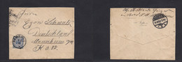 "German Col-Camerun. 1892 (7 Nov) Kamerun - Germany, Mannheim (21 Dec) Fkd Env 20 Pf Blue Adler, Tied Cds Form ""SHS HYANE - Non Classificati"