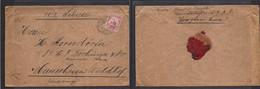 German Col-Kiautschou. 1911 (14 May) Tsingtau - Germany, Mannheim. Via Siberia 4 Pf Red Fkd Envelope. Reverse Red Wax Se - Non Classificati