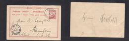 German Col - Marianas. 1903 (7 Aug) Saipan - Mannheim, Germany (10 Oct) 10 Pf Red Stat Card, REPLY Half Usage With Messa - Non Classificati
