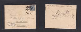 German Col-Samoa. 1892 (12 Sept) Apia - Switzerland, Neuchetel (1 Nov) Early Precursor Single 20 Pf Blue Adler Single Fk - Non Classificati
