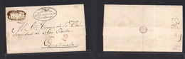 """Guatemala. C. 1840s. Quezaltenango - Guatemala E With Official Cachet, Oval Towwn Name In Black + """"2"""" Reales In Red. VF. - Guatemala"""