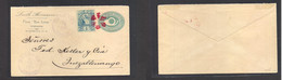 "Guatemala. 1884 (July 14) Finca ""Las Luces"". Tumbador - Quezaltenango. 5c Blue Private Print + 1c Adtl, Tied Red Stat Co - Guatemala"