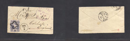 Guatemala. 1890 (23 Enero) Guatemala - UK, Colchester (24 Feb) Fkd Env 5c, Cancelled Cork Star + Taxed + UK 3d Cachet Vi - Guatemala