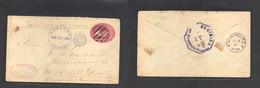 Guatemala. 1891 (16 April) Colomba - Germany, Newstrelitz (26 May) Via Guat 10c Red Stat Env Grill + Violet Cds. Via Liv - Guatemala
