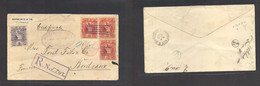Guatemala. 1892 (11 May) GPO - Bordeaux, France (9 June) Registered Multifkd Env At 35c Rated, Lilac Grills + Oval Lilac - Guatemala