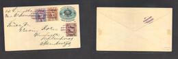 Guatemala. 1895. Via Livingstone - N. Orleans. Ovptd 1895 Provisionale 5c Blue Stat Env + 3 Adtls Incl 1894 And 1895 Mix - Guatemala