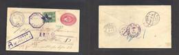 Guatemala. 1895 (24 Ene) Coban - Germany, Berlin (21 Feb) Registered 10c Red Stat Env + 20c Green Adtl. Via Livingstone - Guatemala