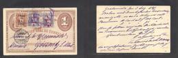 Guatemala. 1898 (3 Aug) GPO - Germany, Gossnitz (28 Aug) 1c Illustr Stat Card + 3 Adtl Stamps Provision 1894-5 Issues, T - Guatemala