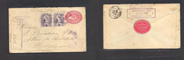 "Guatemala. 1899 (20 Dic) Retalhuleu - France, Bordeaux (16 Jan 1900) Registered 10c Red Stat Env + 2 Adtls, Tied ""2"" GPO - Guatemala"