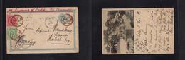 Japan. 1898 (1 Sept) Kobe - Germany, Rostock. 1 Sen Blue Illustrated Reverse Shinkoji Stationary Card + 2 Adtls, Tied Cd - Non Classificati
