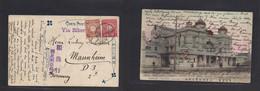 Japan. 1911 (25 March) Tsukiji - Germany, Mannheim Via Siberia. 4 Sen Rate Fkd Ppc. Yukakuza Theater. Fine Usage. - Non Classificati