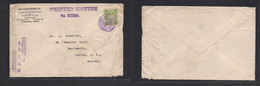 Japan. 1912 (4 Nov) Yokohama - UK, London. Jan Kobayagawa Business. PM Unsealed Rate Env Fkd 2 Sen Green, Tied Violet Ca - Non Classificati