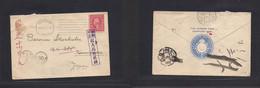 Japan. 1916 (Aug 26) WWI. USA, Edgartown, Mass - Karnizawa, Japan (Sept 5) Single US Fkd Env + Taxed 3 Diff Auxiliary Ma - Non Classificati