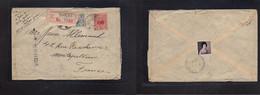 Japan. 1929 (9 Jan) Shiba - France, Montpellier. Registered Multifkd Env + R-label + Arrival Reverse + Aux Cachet. Rever - Non Classificati