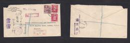 Japan. 1930 (6 June) OSAKA - UK, London. Registered Multifkd Env At 26 Sen Rate + Reg Label + Aux Cachets. Fine. - Non Classificati