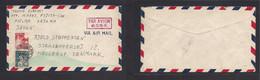 Japan. 1947 (15 Sept) Kojima, Okyama - Denmark, Hellerup. Air Fkd Env, 16 Sen, Tied Local Cds + Red Air Cachet. Fine Usa - Non Classificati