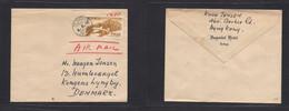Japan. 1952 (4 Aug) Tokyo, Imperial Hotel - Denmark, Kongens. Single 125 Sen Brown Airmail Fkd Env Tied Cds (minor Stamp - Non Classificati