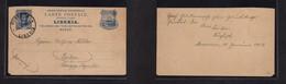 Liberia. 1913 (30 Jan) Monrovia - Germany, Berlin. 3c Blue Stat Card, Cds. Fine Used. - Liberia