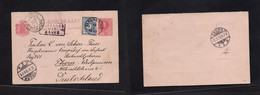 Suriname. 1898 (19 Febr) Paramaribo - Germany, Thorn (17 March) Doble 2 1/2 Ct Tied Stat Card, Used On Way Out + Adtl 5c - Surinam