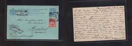 "Suriname. 1902 (30 Nov) Paramaribo - Germany, Herrntut (19 Dec) 5ct Blue Stat Card + 2 1/2 Red Adtl, Tied Cds, Box ""bia - Surinam"