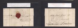 "Peru. 1825 (5 Apr) Lima - London, UK (8 Aug 25) E Charged 3sh 6d, Reverse ""shipletter / Gravesend"" (xxx) VF. Via Private - Perù"