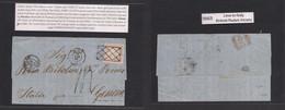 Peru. 1863 (11 March) Lima - Italy, Genova (16 April) E Fkd 1 Dinero Rose, Large Margins, Tied Box Grill, Cds Alongside, - Perù
