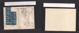 Peru. 1866. BPO Callao - Scotland, Edinburg (3 March) Port Envelope Multifkd 2d Blue (x7) Tied. C-38. Via London Raid. E - Perù