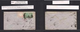 Peru. 1866 (July) Callao - Scotland, Edinburgh (Aug 13) Via London (same Day Aug 13) Fkd Env 1 Dinero Rose, Good Margins - Perù